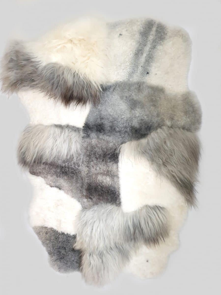 4 2 - Patchwork schapenvacht tapijten mix natuurlijk wit & grijs