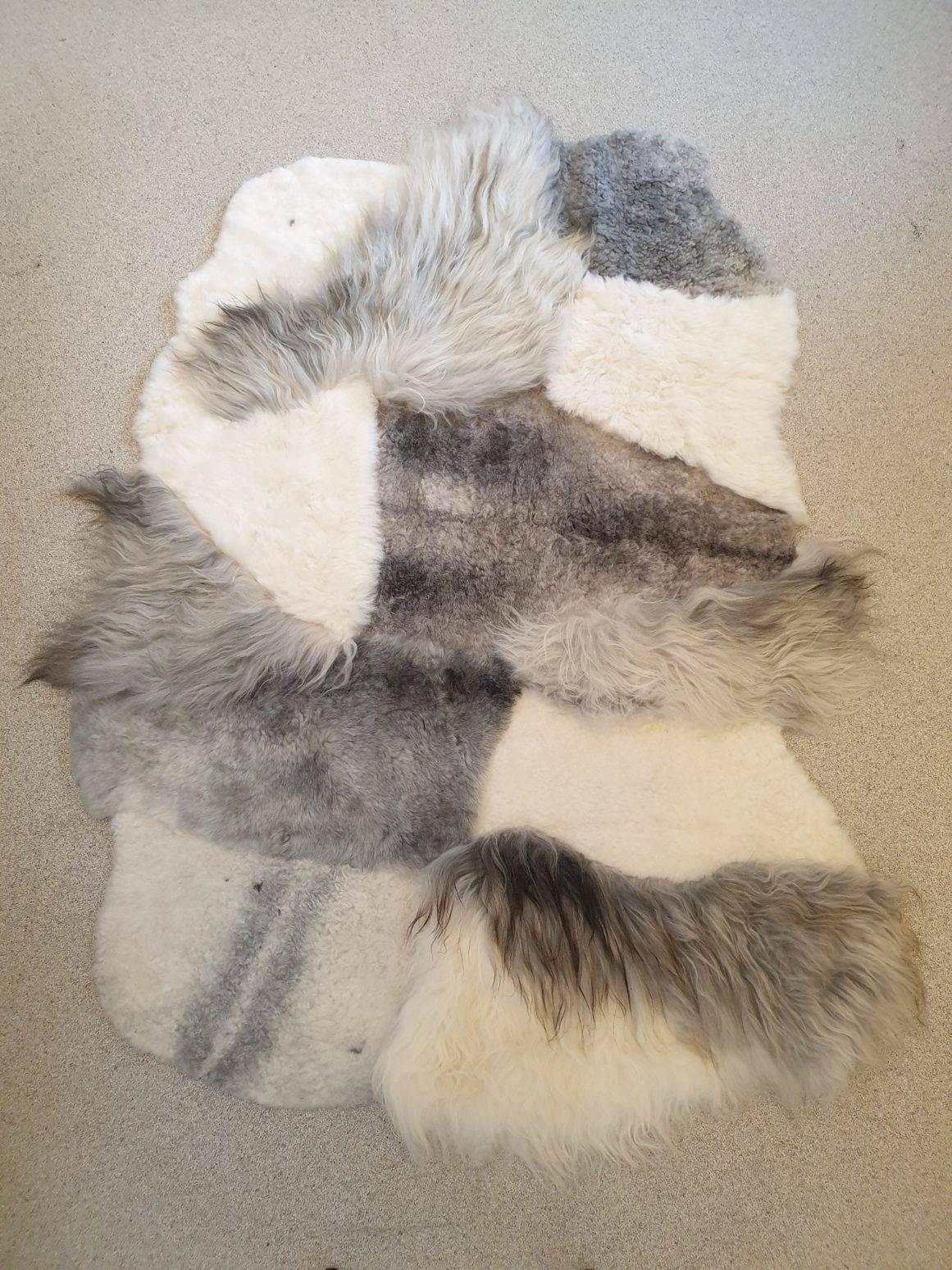 4 schapenvacht patchwork tapijt wit en grijs