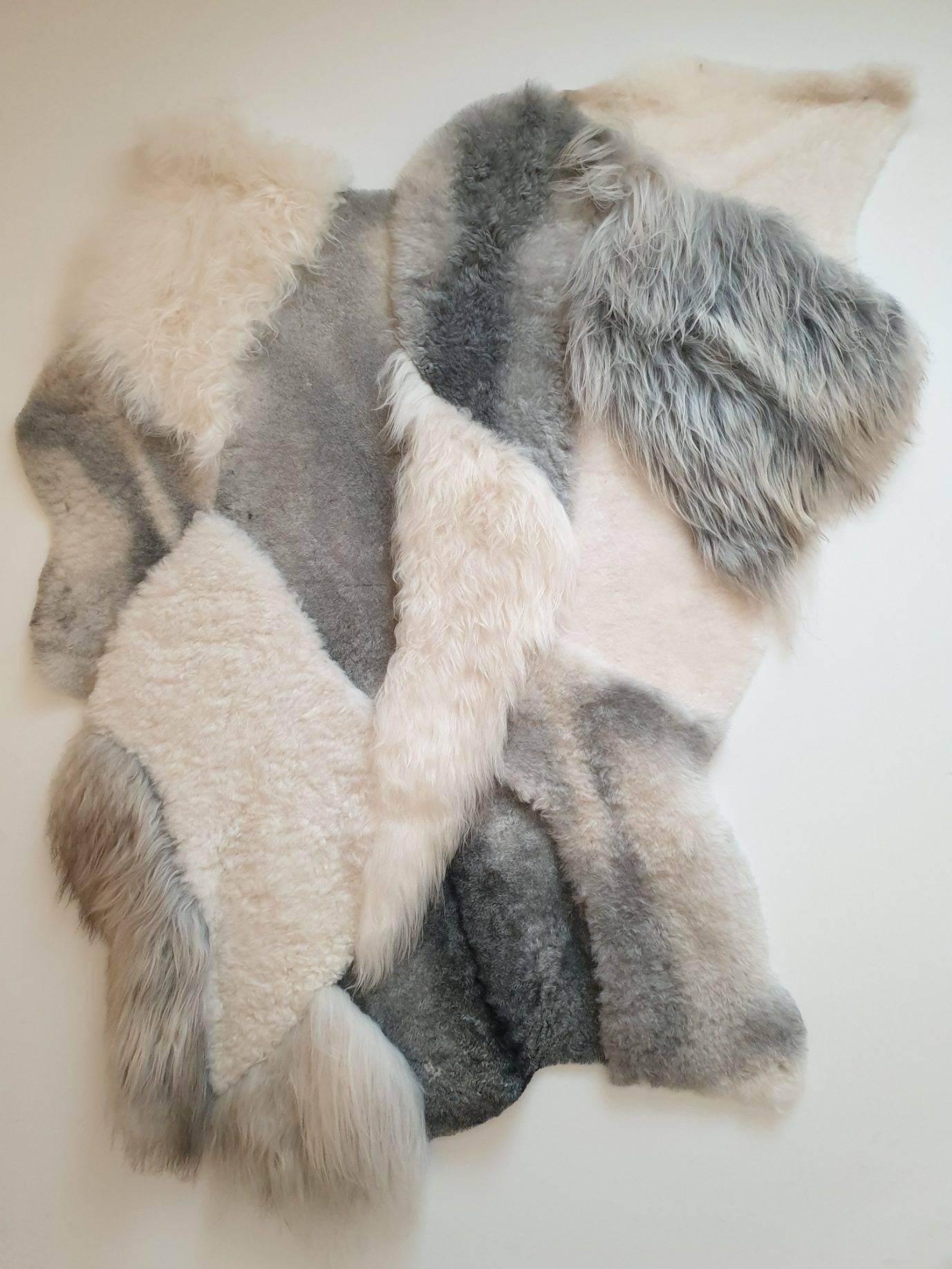 6 schapenvacht tapijt wit en grijs