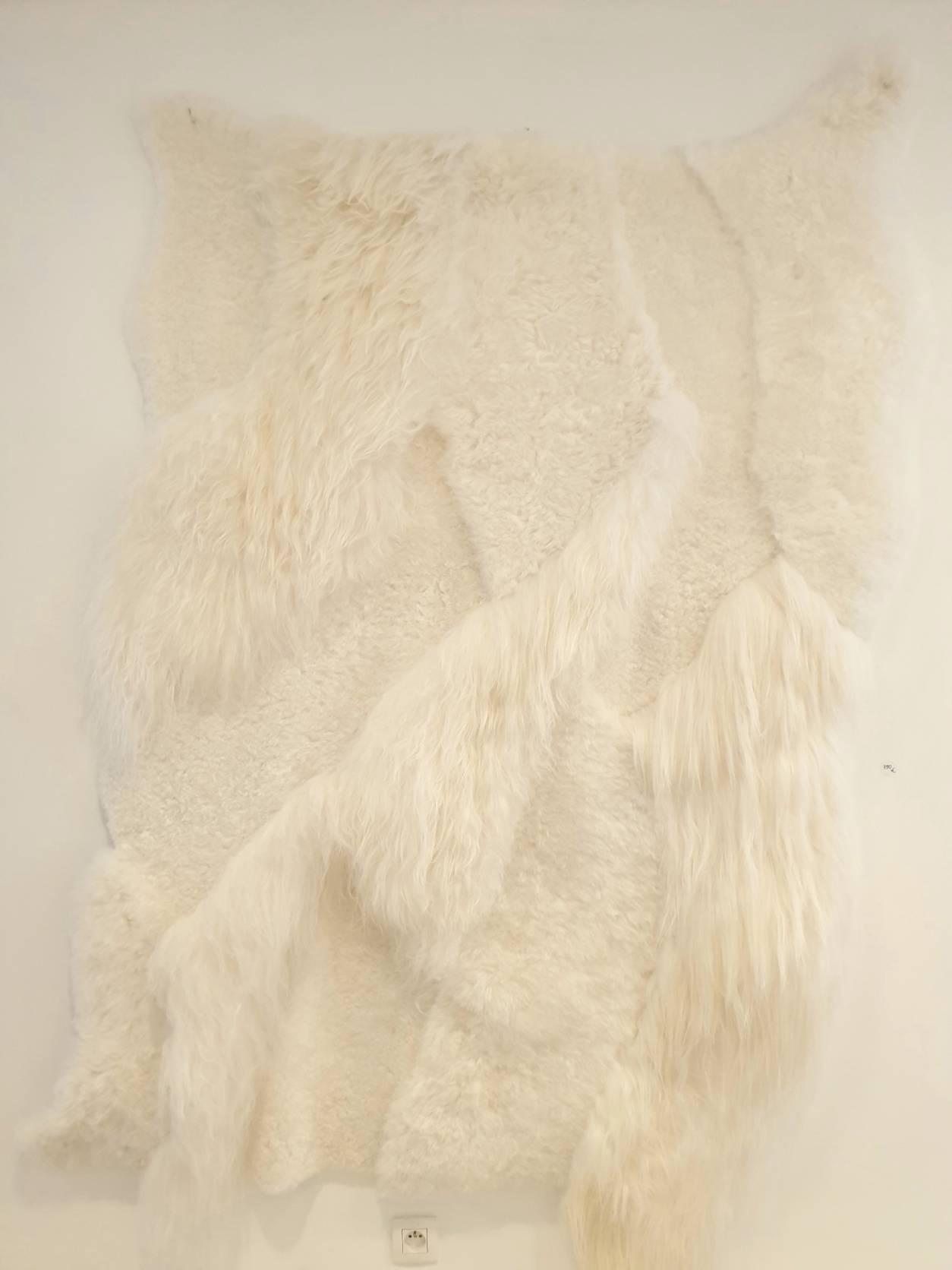 8 schapenvacht patchwork tapijt wit