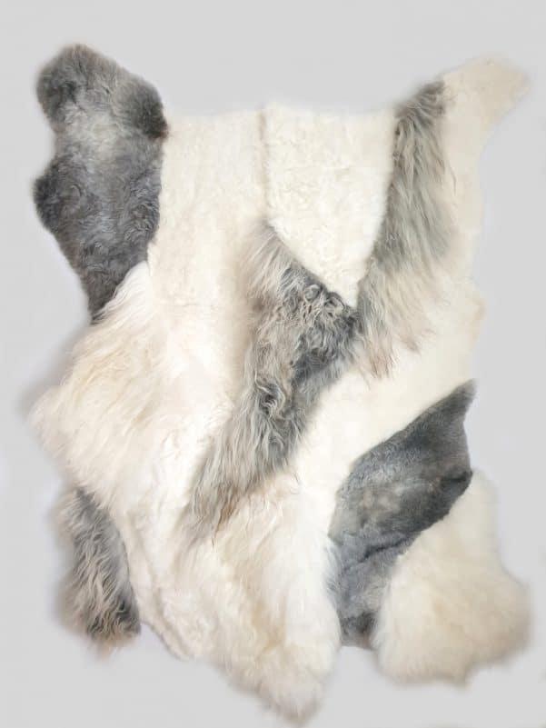 10 1 - Patchwork schapenvacht tapijt grijs en wit (nr. 10)