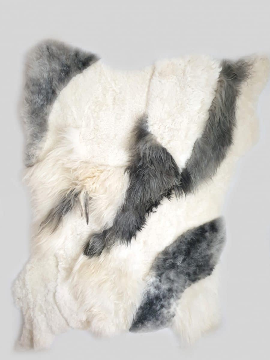 11 1 - Patchwork schapenvacht tapijten mix natuurlijk wit & grijs