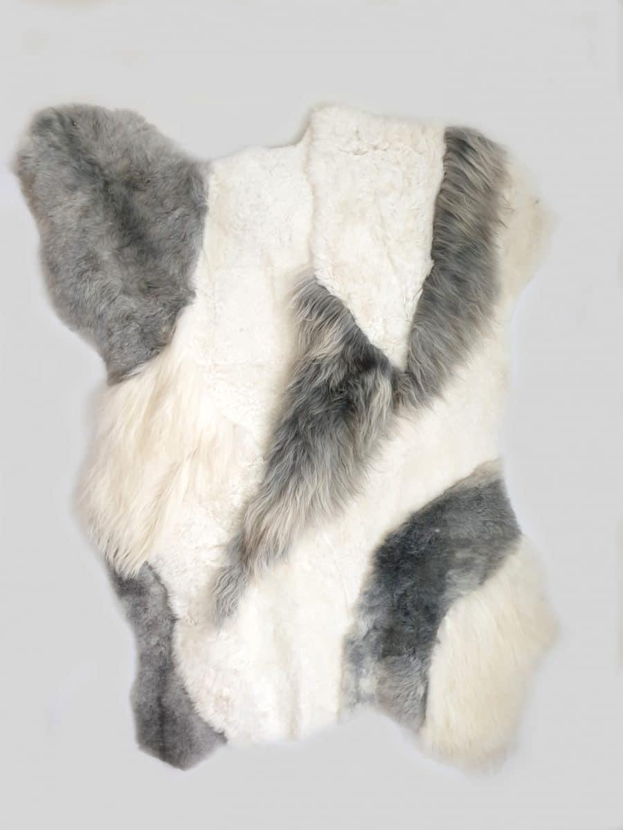 14 1 - Patchwork schapenvacht tapijten mix natuurlijk wit & grijs