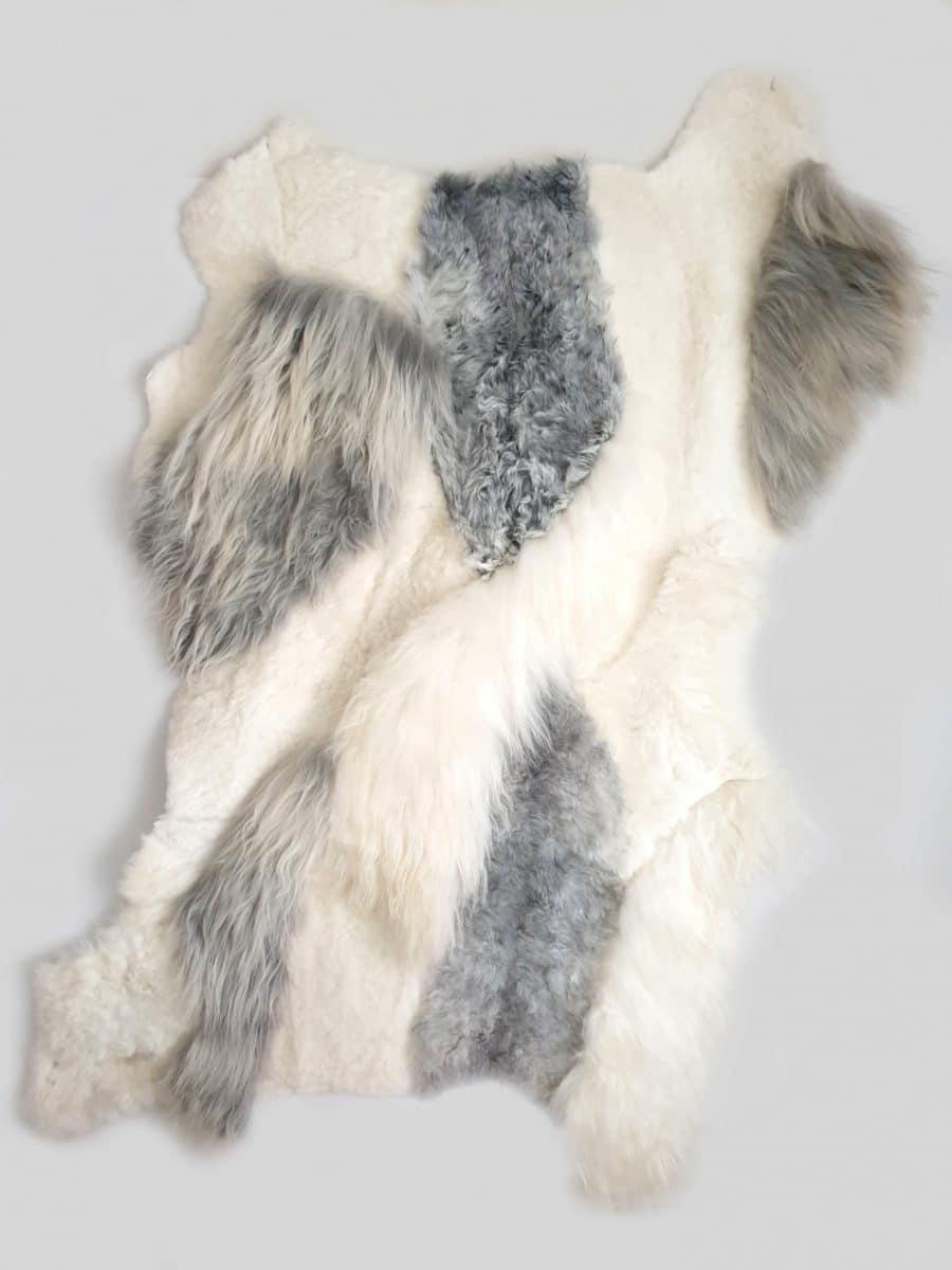 15 1 - Patchwork schapenvacht tapijten mix natuurlijk wit & grijs
