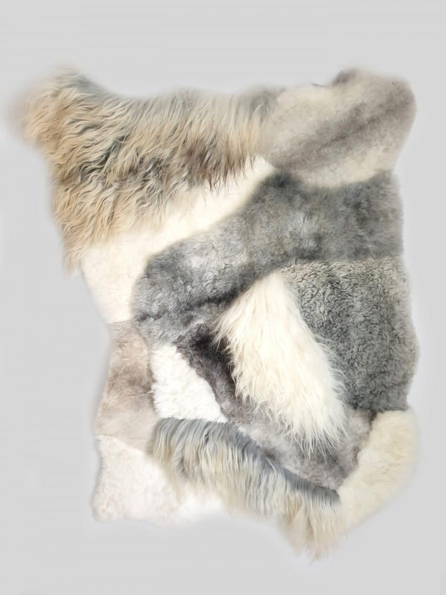 3 1 - Patchwork schapenvacht tapijten mix natuurlijk wit & grijs